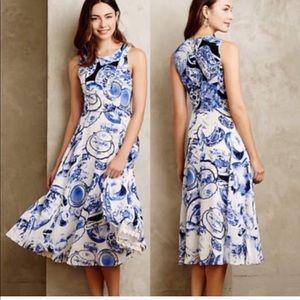 Anthropologie   Blue Afternoon Tea Dress size 4